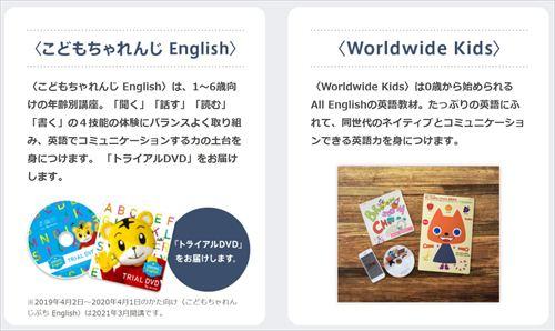 こどもちゃれんじEnglishの体験教材